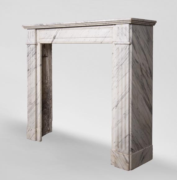 An antique Louis XVI style fireplace, made out of Arabescato marble-5