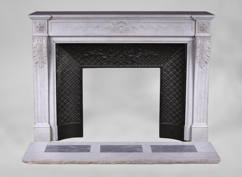 Antique Louis XVI style fireplace with laurel branches decor in white Carrara marble - Reference 3380