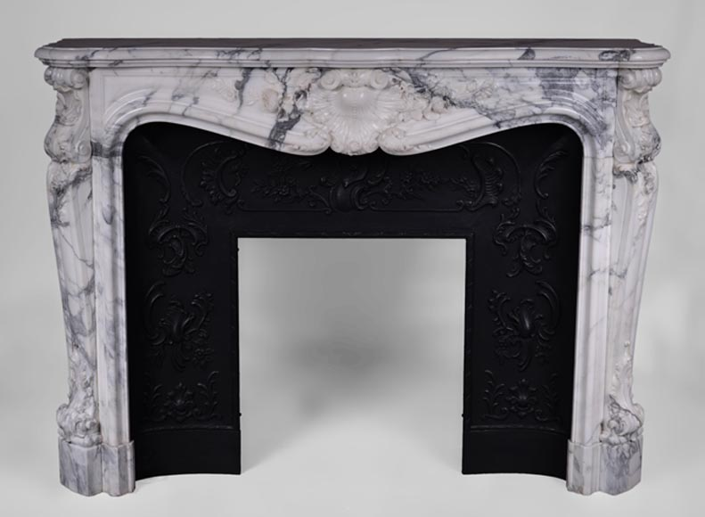 Very beautiful antique Louis XV style fireplace in Arabescato marble with cast iron insert - Reference 3385