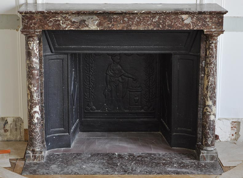 Antique Empire fireplace with columns and its complete cast iron insert - Reference 3391