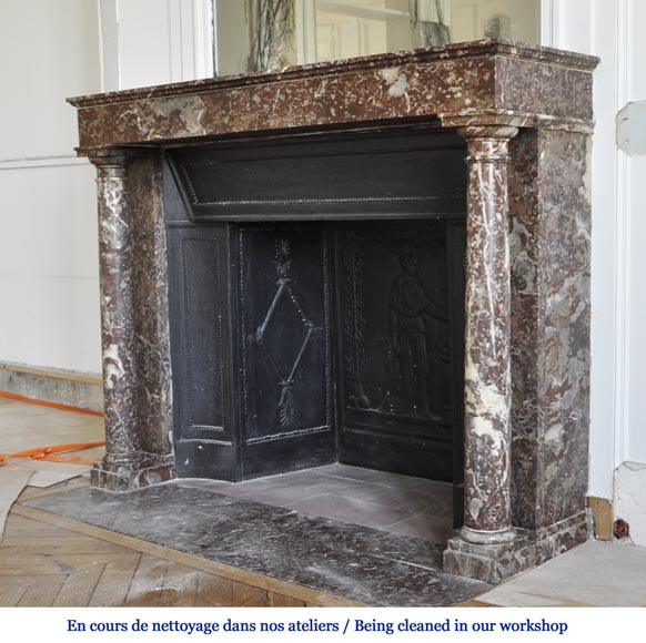 Antique Empire fireplace with columns and its complete cast iron insert-5