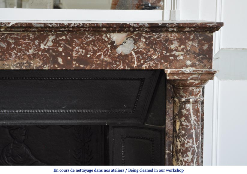 Antique Empire fireplace with columns and its complete cast iron insert-6