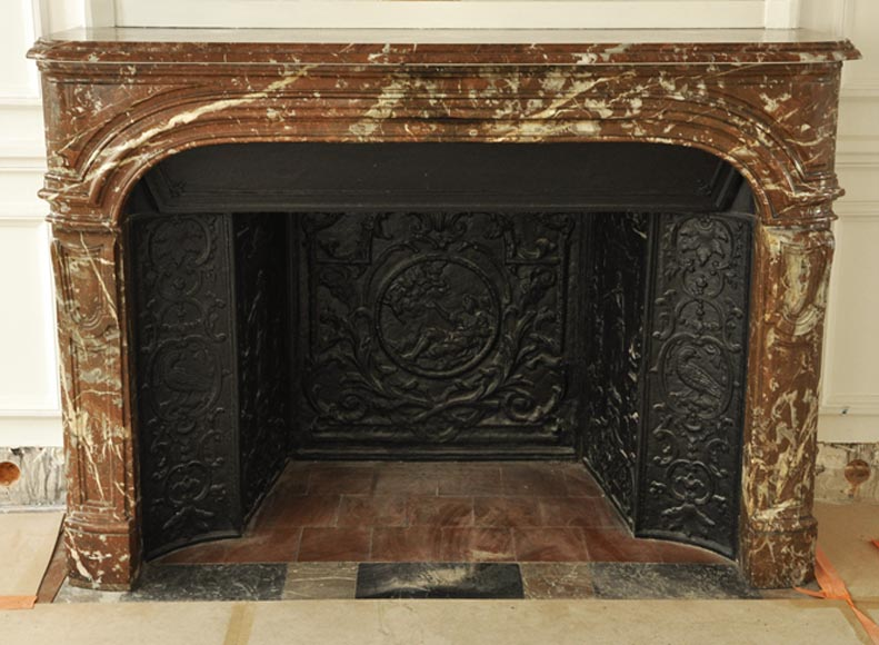 Antique Regence period fireplace in Red from the North marble with its complete cast iron insert-0