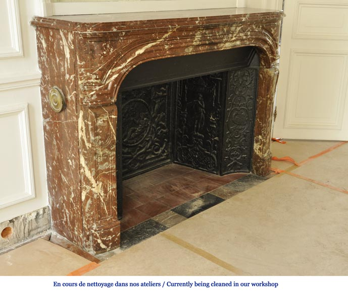 Antique Regence period fireplace in Red from the North marble with its complete cast iron insert-2