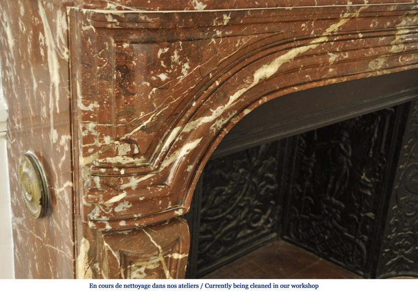 Antique Regence period fireplace in Red from the North marble with its complete cast iron insert-3