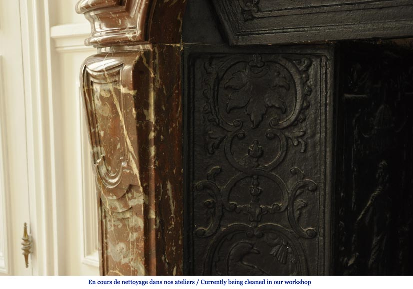Antique Regence period fireplace in Red from the North marble with its complete cast iron insert-4