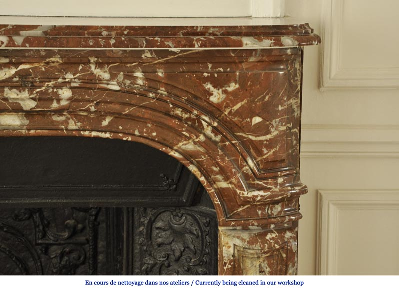 Antique Regence period fireplace in Red from the North marble with its complete cast iron insert-6