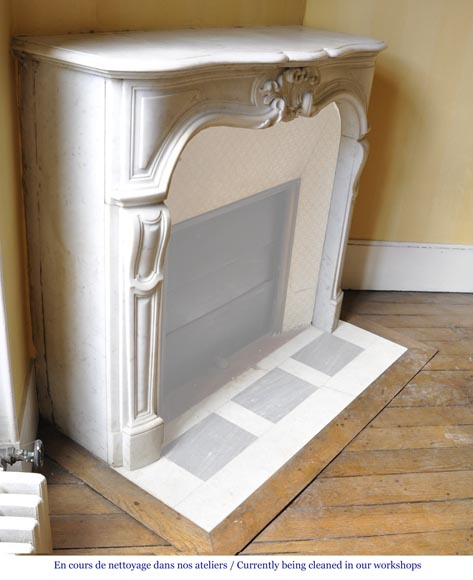 Antique Regence style fireplace in white Carrara marble-2