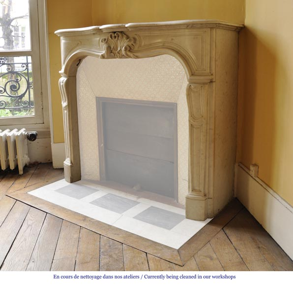 Antique Regence style fireplace in white Carrara marble-5