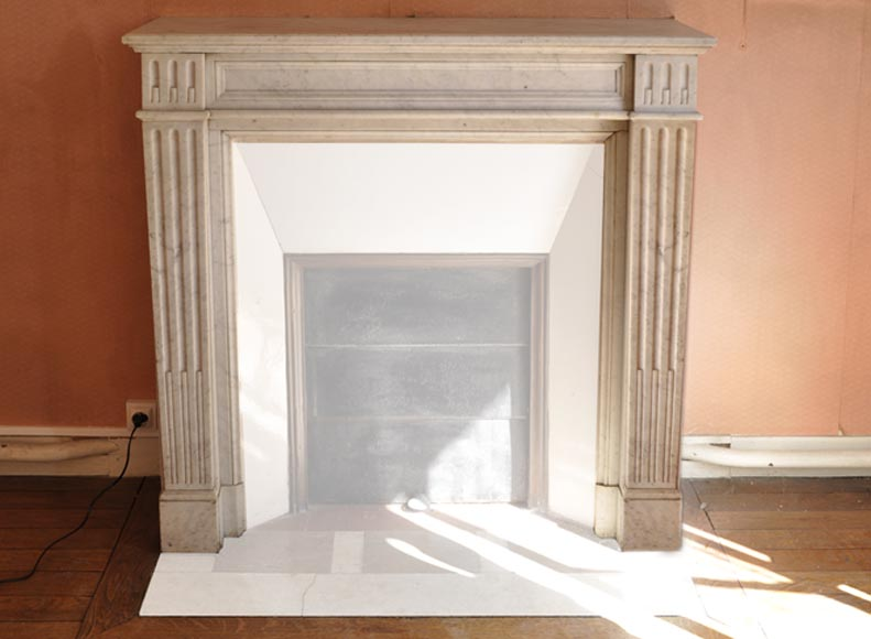 Small antique Louis XVI style fireplace with flutings in white Carrara marble - Reference 3401
