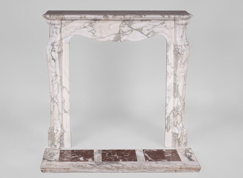 Antique Louis XV style fireplace, Pompadour model, in Breccia marble - Reference 3408
