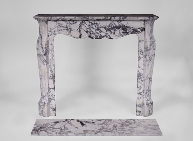 Antique Louis XV style fireplace, Pompadour model, in Serravezza Breccia marble - Reference 3410