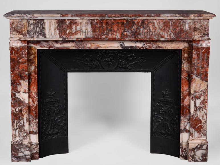 Beautiful antique Louis XVI style fireplace with flutings in Seravezza marble with its cast iron insert-0