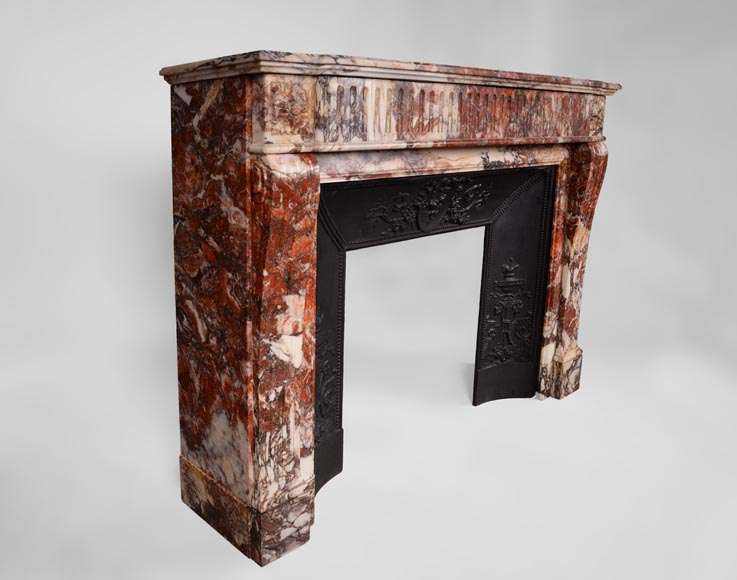 Beautiful antique Louis XVI style fireplace with flutings in Seravezza marble with its cast iron insert-2
