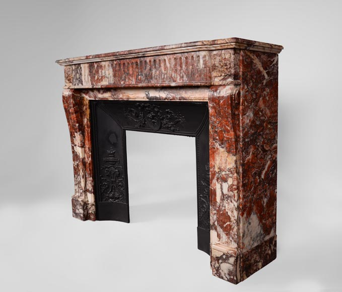 Beautiful antique Louis XVI style fireplace with flutings in Seravezza marble with its cast iron insert-6