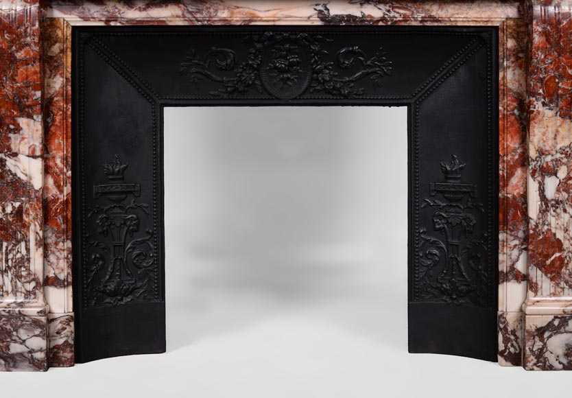 Beautiful antique Louis XVI style fireplace with flutings in Seravezza marble with its cast iron insert-9