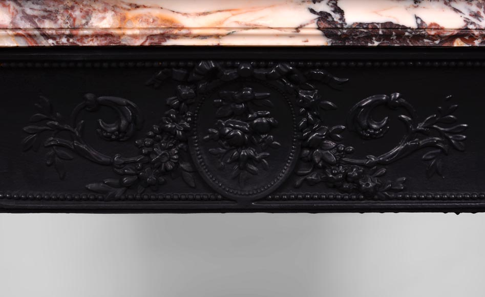 Beautiful antique Louis XVI style fireplace with flutings in Seravezza marble with its cast iron insert-10