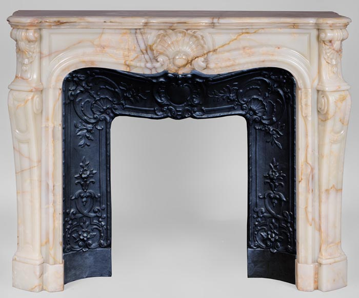 Beautiful antique Louis XV style fireplace with shells decor in Onyx-0