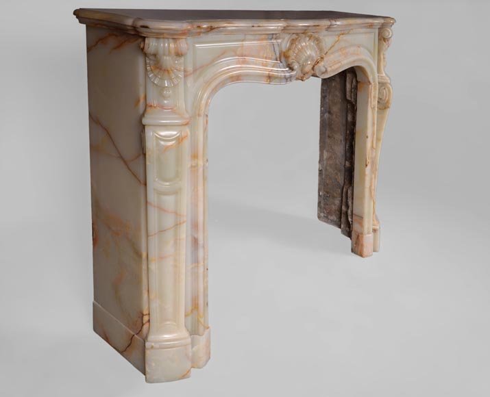 Beautiful antique Louis XV style fireplace with shells decor in Onyx-2