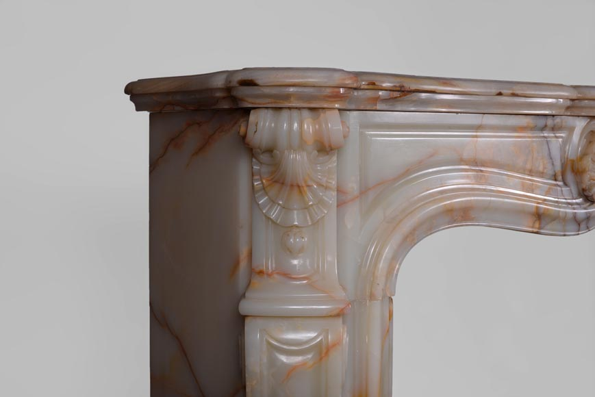 Beautiful antique Louis XV style fireplace with shells decor in Onyx-3