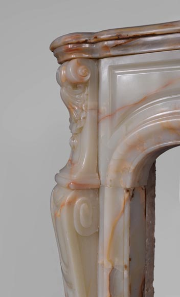 Beautiful antique Louis XV style fireplace with shells decor in Onyx-4