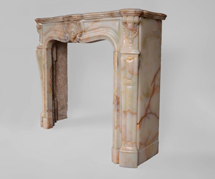 Beautiful antique Louis XV style fireplace with shells decor in Onyx-6