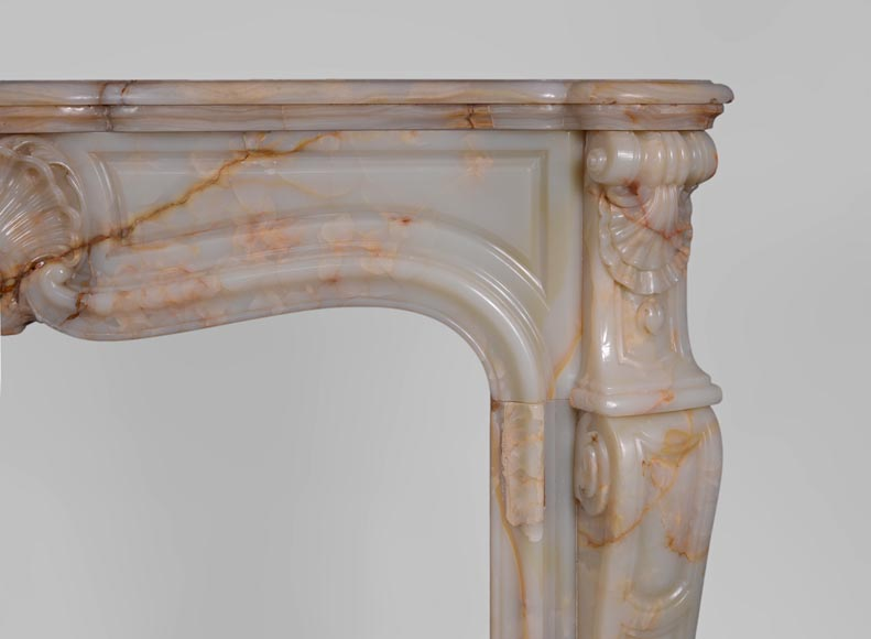 Beautiful antique Louis XV style fireplace with shells decor in Onyx-7