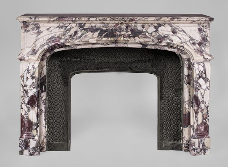 Large antique Regence style fireplace in Violet Breccia marble - Reference 3416