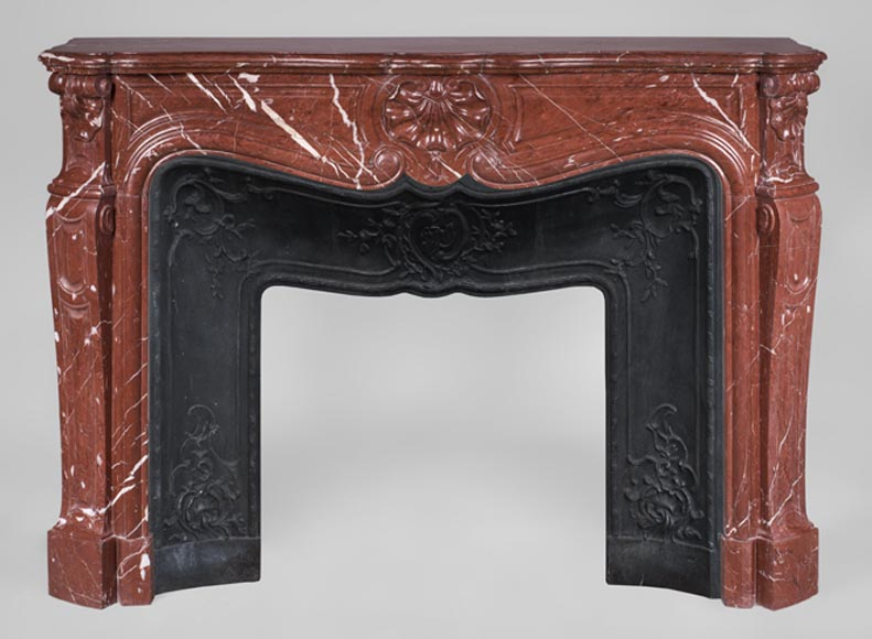 Antique Louis XV style fireplace, three shells model, in Rosso Alicante marble-0