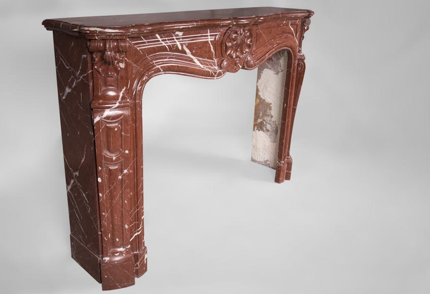 Antique Louis XV style fireplace, three shells model, in Rosso Alicante marble-3