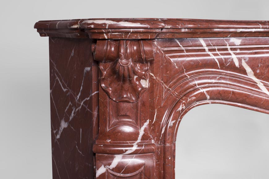 Antique Louis XV style fireplace, three shells model, in Rosso Alicante marble-4