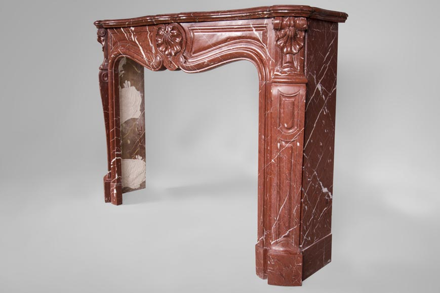 Antique Louis XV style fireplace, three shells model, in Rosso Alicante marble-6