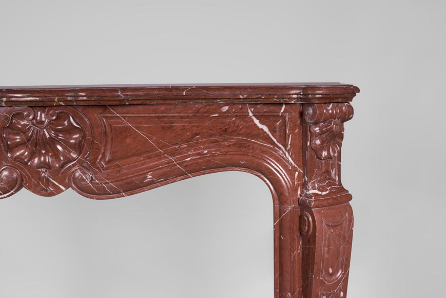 Antique Louis XV style fireplace, three shells model, in Rosso Alicante marble-7