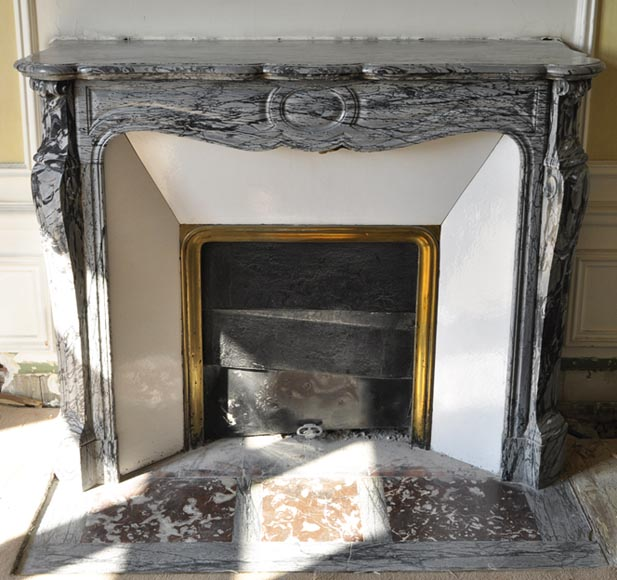 Antique Louis XV style fireplace, Pompadour model, in Bleu Fleuri marble - Reference 3420