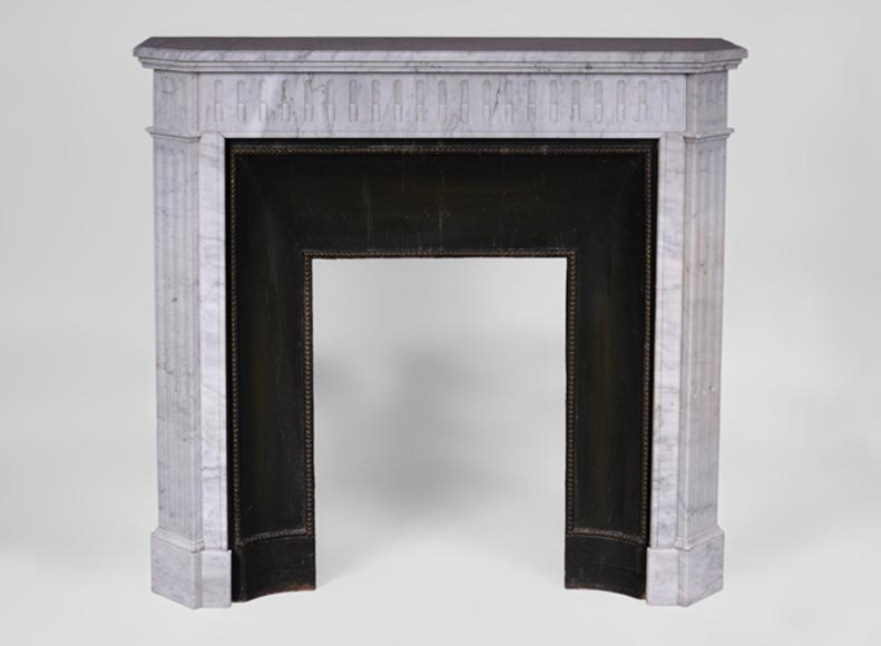 Small antique Louis XVI style fireplace with flutings in white Carrara marble - Reference 3426
