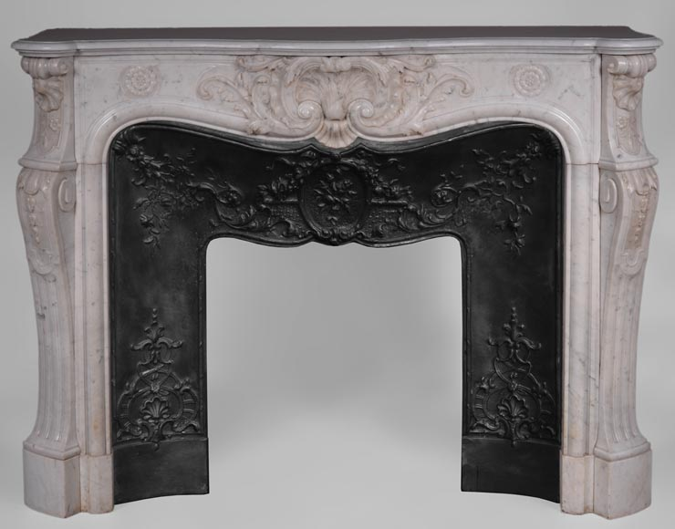 Antique Louis XV style fireplace in Carrara marble with large shell and rosettes -0