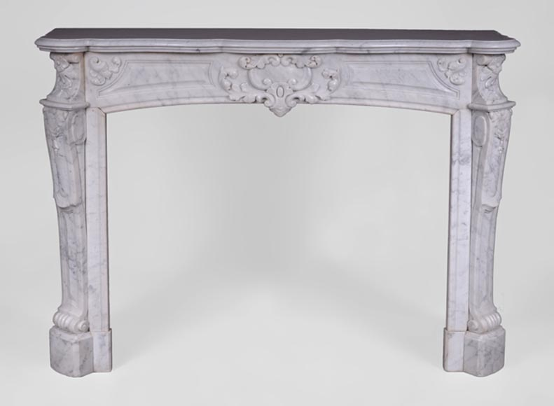Antique Regence style fireplace in Carrara marble -0