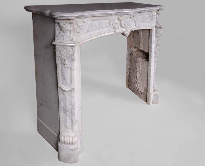 Antique Regence style fireplace in Carrara marble -2