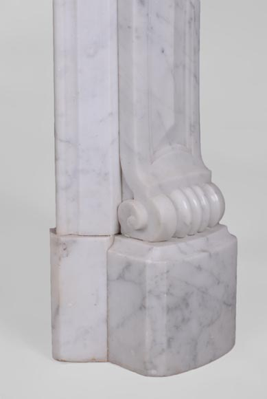 Antique Regence style fireplace in Carrara marble -7