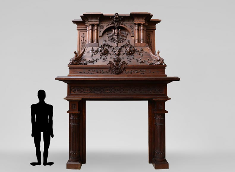 Rare walnut carved fireplace attributed to Panciera Besarel, Italy, late 19th century - Reference 3431