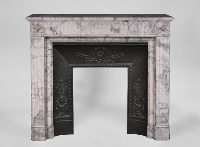 Small antique Louis XVI style fireplace with flutings in Arabescato marble - Reference 3435