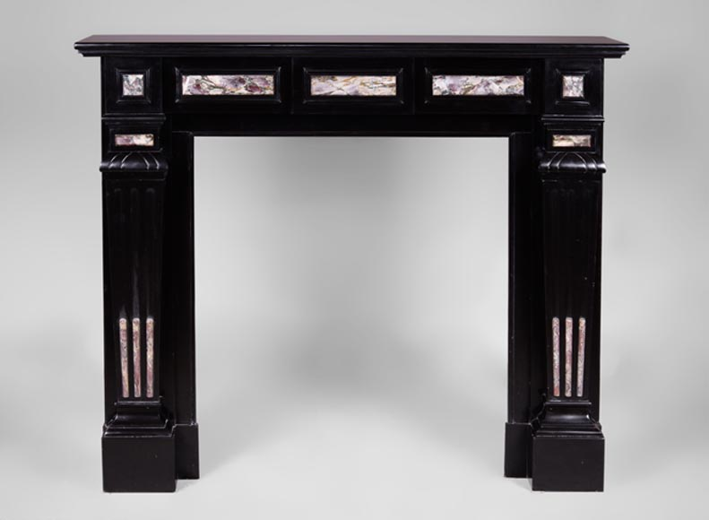 Antique Napoleon III style fireplace in Belgian Black marble with Fior di Pesco marble inlays - Reference 3438