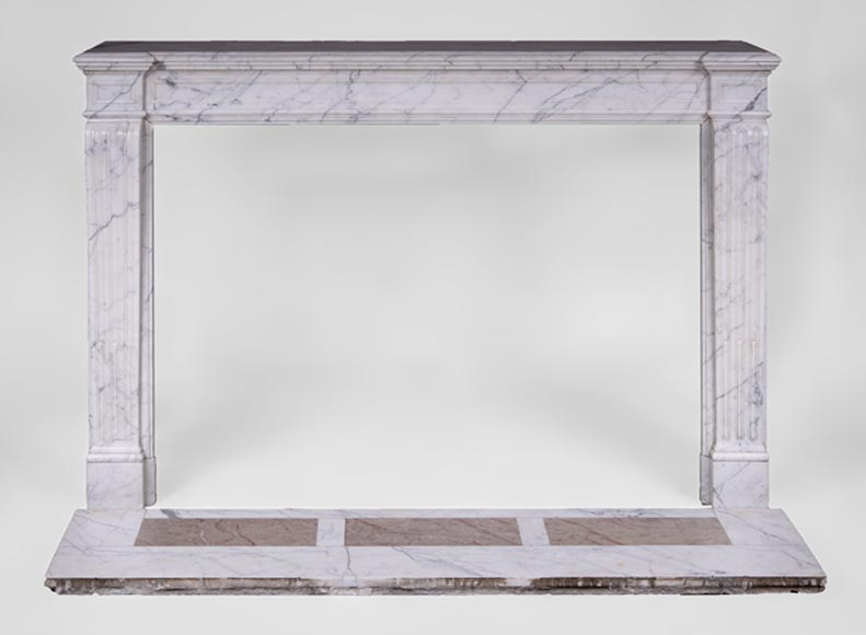 Antique Louis XVI style fireplace with flutings in white veined Carrara marble-0