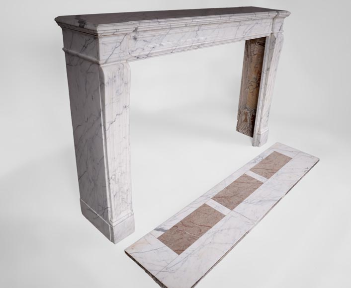 Antique Louis XVI style fireplace with flutings in white veined Carrara marble-2