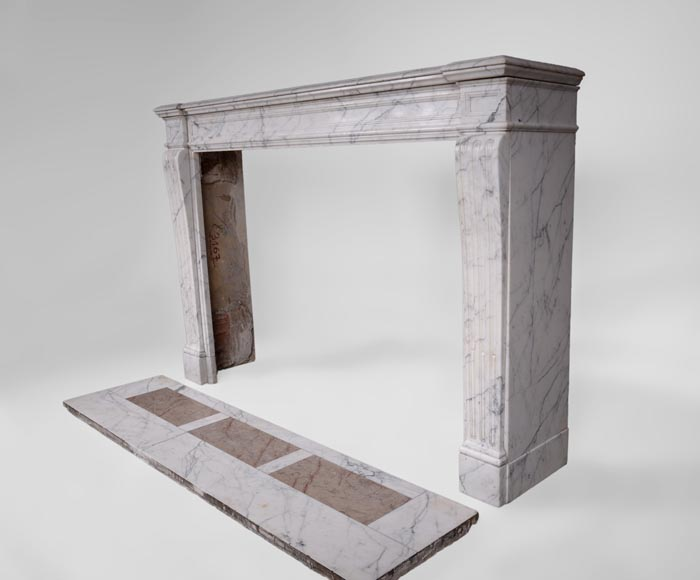 Antique Louis XVI style fireplace with flutings in white veined Carrara marble-5