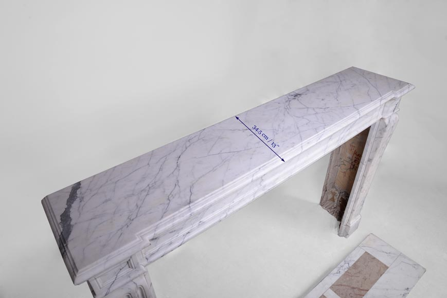 Antique Louis XVI style fireplace with flutings in white veined Carrara marble-9