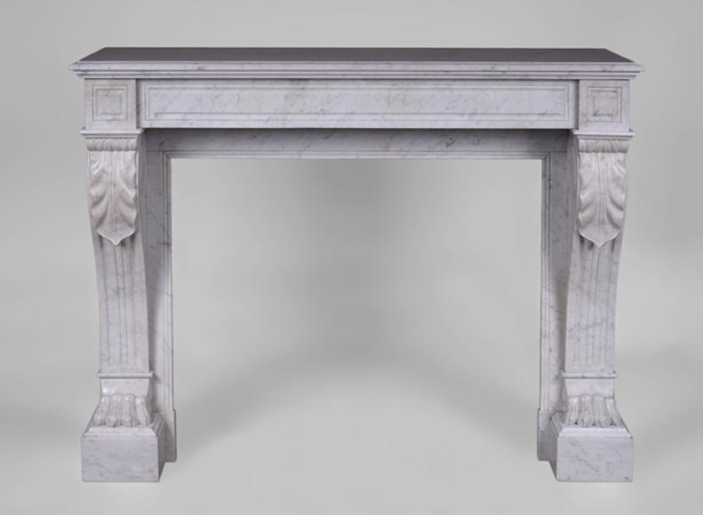Antique Napoleon III style fireplace with lion's paws in Carrara marble - Reference 3443