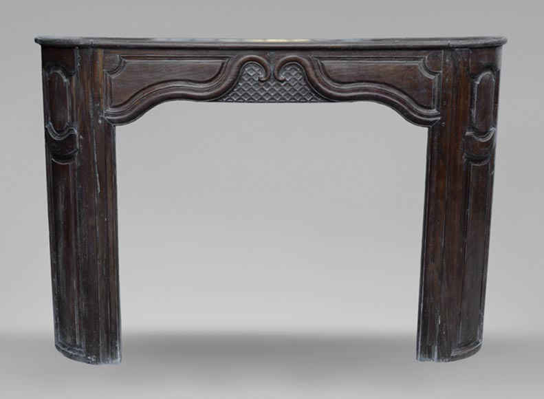 Large antique oak wood fireplace, Regence style, 1st half of the 19th c.-0