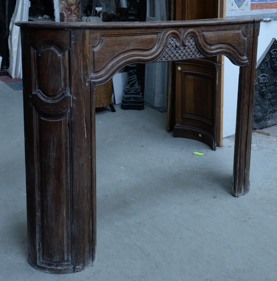 Large antique oak wood fireplace, Regence style, 1st half of the 19th c.-2