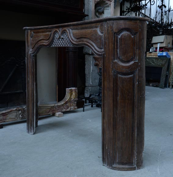Large antique oak wood fireplace, Regence style, 1st half of the 19th c.-5